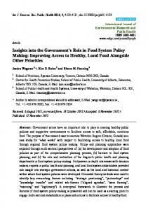 Improving Access to Healthy, Local Food