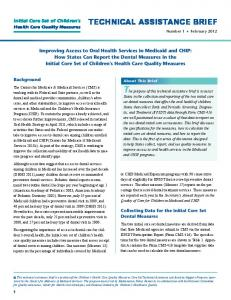 Improving Access to Oral Health Services in Medicaid ...