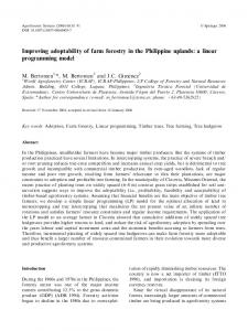Improving adoptability of farm forestry in the Philippine uplands: a ...