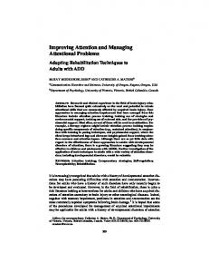 Improving Attention and Managing Attentional ... - Wiley Online Library