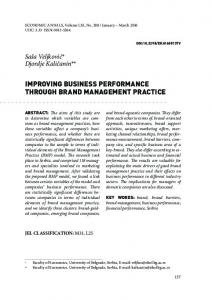 improving business performance through brand management practice