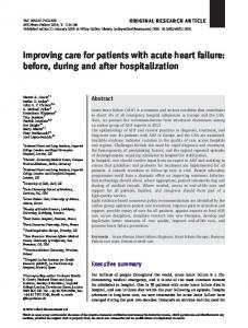 Improving care for patients with acute heart failure - Wiley Online Library