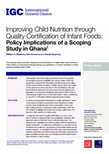 Improving Child Nutrition through Quality Certification of Infant Foods: