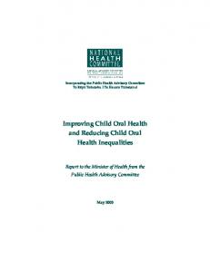 Improving Child Oral Health and Reducing Child Oral Health ...