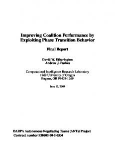 Improving Coalition Performance by Exploiting ... - Semantic Scholar