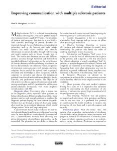 Improving communication with multiple sclerosis ... - Semantic Scholar