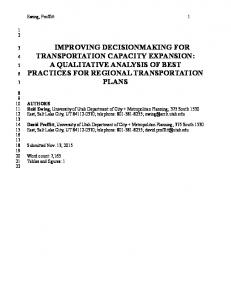 improving decisionmaking for transportation capacity expansion