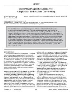 Improving Diagnostic Accuracy of Anaphylaxis in the ... - CiteSeerX