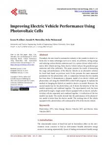 Improving Electric Vehicle Performance Using Photovoltaic Cells