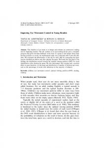 Improving Eye Movement Control in Young Readers - Springer Link