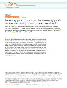Improving genetic prediction by leveraging genetic ... - Nature