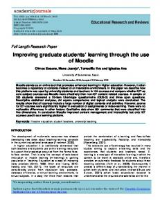 Improving graduate students' learning through ... - Academic Journals