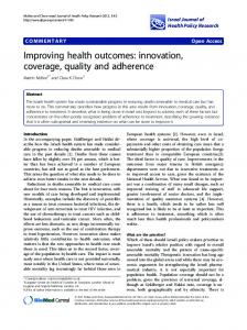 Improving health outcomes: innovation, coverage ... - Semantic Scholar
