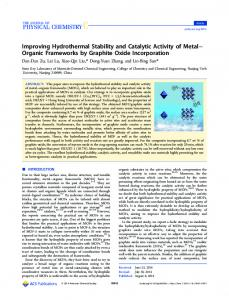 Improving Hydrothermal Stability and Catalytic Activity of Metal ...