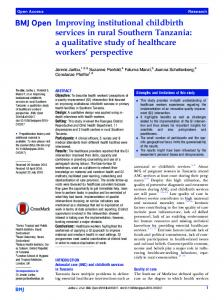 Improving institutional childbirth services in rural Southern Tanzania: a ...