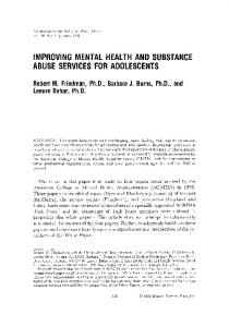 Improving mental health and substance abuse services for adolescents