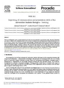 Improving of Communication and Presentation Skills ... - Science Direct