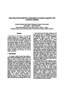 Improving online handwritten mathematical ... - Semantic Scholar