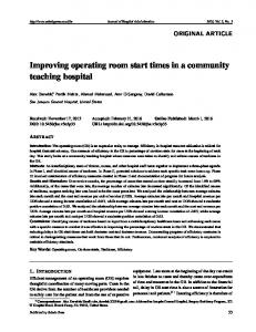 Improving operating room start times in a community ... - Sciedu Press
