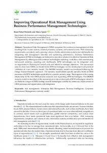 Improving Operational Risk Management Using Business ... - MDPI