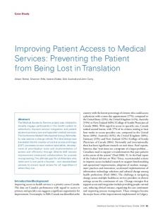Improving Patient Access to Medical Services - Canadian Medical ...