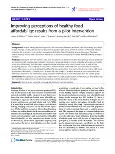 Improving perceptions of healthy food affordability: results from a pilot