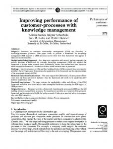 Improving performance of customer-processes with ... - CiteSeerX