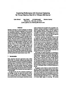 Improving Performance with Interrupt Coalescing for ... - CiteSeerX