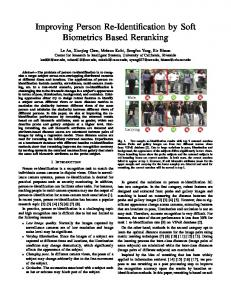 Improving Person Re-Identification by Soft Biometrics ... - UCR CS