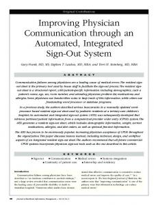 Improving physician communication through an automated, integrated ...