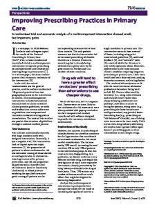 Improving Prescribing Practices in Primary Care - PLOS