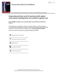 Improving primary care for persons with spinal cord ...