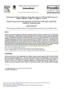 Improving Project Management Performance through ... - Science Direct