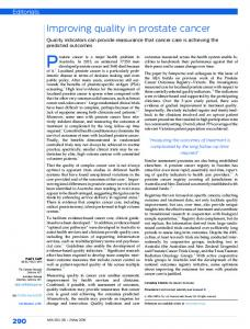 Improving quality in prostate cancer - The Medical Journal of Australia