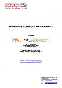improving schedule management - Mosaic Project Services