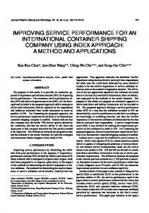 improving service performance for an international container shipping ...