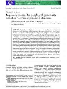 Improving services for people with personality ... - Wiley Online Library