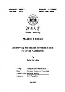 Improving Statistical Bayesian Spam Filtering