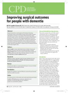 Improving surgical outcomes for people with dementia