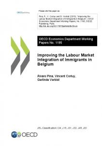 Improving the Labour Market Integration of Immigrants in Belgium