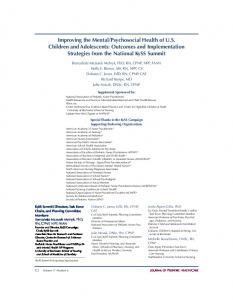 Improving the Mental/Psychosocial Health of U.S. Children and ...
