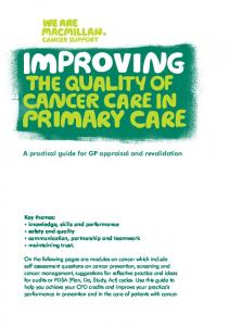 Improving the quality of cancer care in primary care - Macmillan ...