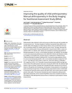Improving the quality of child anthropometry: Manual ... - CDC stacks