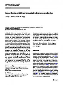 Improving the yield from fermentative hydrogen production - CiteSeerX