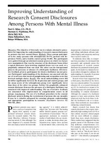 Improving Understanding of Research Consent ... - Psychiatric Services