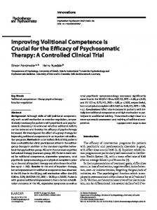Improving Volitional Competence Is Crucial for the ...