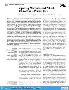 Improving Wait Times and Patient Satisfaction in ... - Wiley Online Library