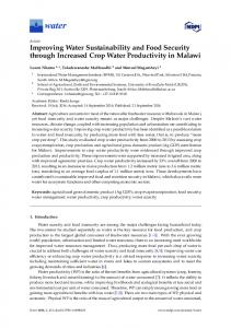Improving Water Sustainability and Food Security through ... - MDPI