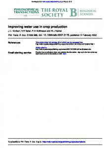 Improving water use in crop production