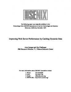 Improving Web Server Performance by Caching Dynamic Data